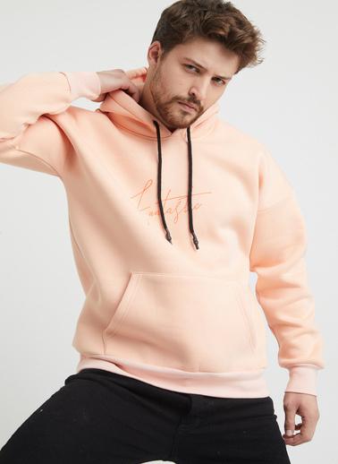 XHAN Pudra Baskılı Sweatshirt 1Kxe8-44367-50 Pudra